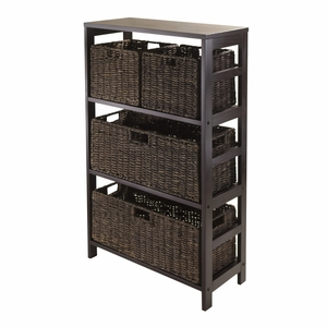 Elegant and Classy Three Tier Shelf with 4 Baskets by Winsome Woods