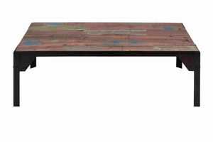 Elegant and Classy Wooden Coffee Table with Metal Legs Brand Benzara