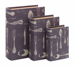 Elegant And Clever Paris Dining Themed Book Box Set of Three Brand Woodland