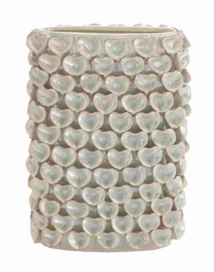 Elegant and Glossy Oyster Shell Designed Ceramic Vase Brand Benzara