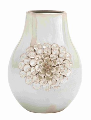 Elegant and Glossy Pear Shaped Floral Design Vase Brand Benzara