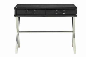 Steel and leather console table - 70665 by Benzara