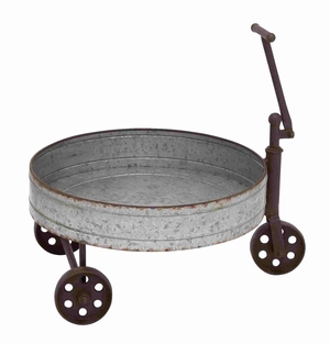 Tin Barrel Cart With Iron Handle and Wheels - 93830 by Benzara