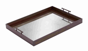 Elegant and Sophisticated Wooden Mirror Designed Tray Brand Benzara