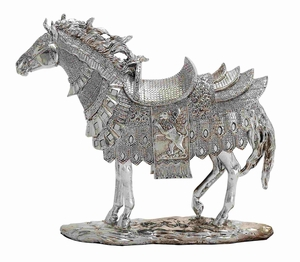 Elegant and Striking Silver Dyed Decorative Horse D�cor Brand Benzara