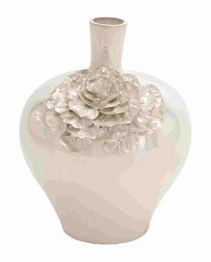 Elegant and Uniquely Designed Oyster Shell Ceramic Vase Brand Benzara