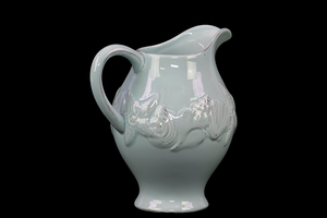 Elegant & Beautiful Ceramic Pitcher Designed w/ Beautiful Seashell in Blue