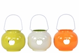 Elegant & Beautiful Colored Ceramic Lantern w/ Apple CutOut Set of Three