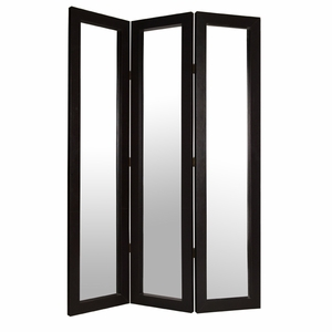 Elegant Bellevue Leather High End Mirror Screen in Dark Brown Brand Screen Gem