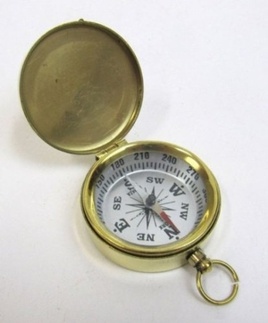 Elegant Brass Pocket Compass with Black Dial by IOTC