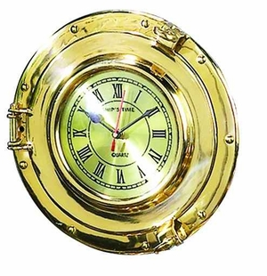 Elegant Brass Port Hole Clock in Gold Finish with Round Shape Brand Woodland