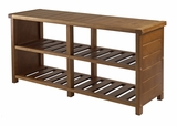 Elegant Brown Compact Keystone Teak Shoe Bench by Winsome Woods