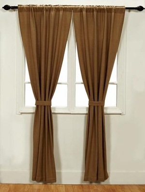 Elegant Burlap Style 2 Panel Curtain Set With Cotton Liner Brand VHC