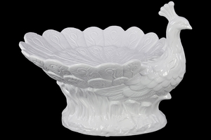 Elegant Carved Ceramic Peacock Bowl White