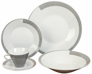 Elegant Ceramic Dinner Set in Black and White Finish - Set of 20 Brand Woodland