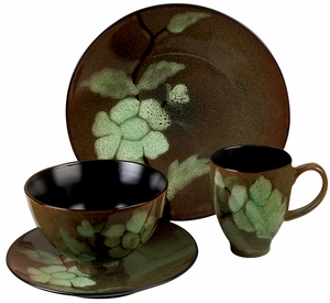Elegant Ceramic Dinner Set with Floral Design - Set of 16 Brand Woodland