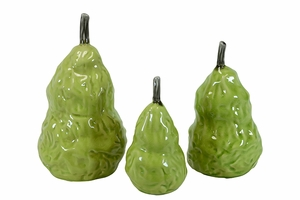 Elegant Ceramic Pear Figurine Set of Three in Green w/ Glossy Finish