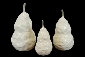 Elegant Ceramic Pear Figurine Set of Three in White w/ Glossy Finish