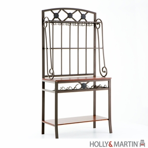 Elegant Coffee Brown Baker's Rack with Wine Storage by Southern Enterprises