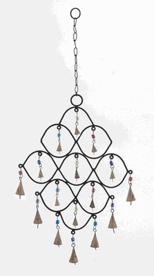 Elegant Curves Designed Metal Bead Wind Chime with Colorful Beads Brand Woodland