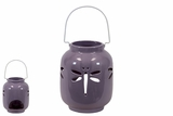 Elegant & Cute Ceramic Dragonfly lantern in Purple w/ Handle