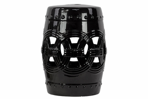 Elegant Drum Shaped Ceramic Garden Stool w/ Open Circle Design Black