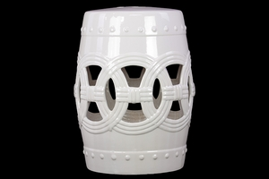 Elegant Drum Shaped Ceramic Garden Stool w/ Open Circle Design White