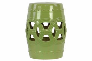 Elegant Drum Shaped Ceramic Garden Stool w/ Open Design Turquoise