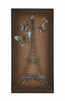 Elegant Eiffel Tower Themed Burlap Wall Panel D�cor Brand Benzara