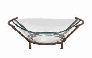 Elegant Glass Bowl with Unique Styled Metal Stand Brand Benzara