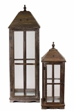 Elegant Glass Paneled Traditional Wooden Lantern Set of Two