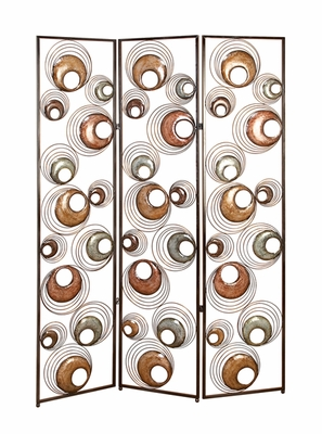 Elegant Global Journey 3 Panel Room Divider Metal Floor Screen Brand Woodland