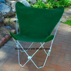 Elegant Hunter Green Fabric Foldable Butterfly Chair by Algoma