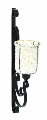 Elegant Indian Metal Glass Wall Candle Sconce by Woodland Import