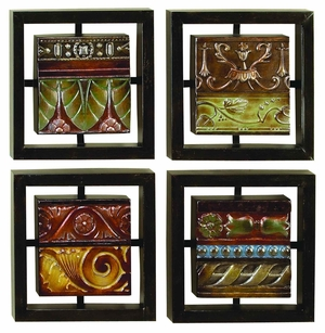 Elegant Metal 4 Assorted Wall Decor with Artistic Design Brand Woodland
