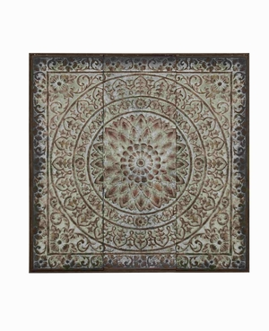 Elegant Metal Decorative Vintage Themed Wall Panel Brand Benzara