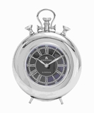 Elegant Metal Nickel Plated Table Clock with Roman Numerals Brand Woodland