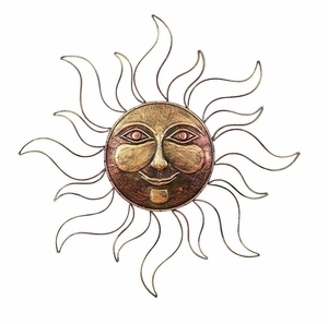 Elegant Metal Wall Sunface Decor in Reddish Gold Finish Brand Woodland