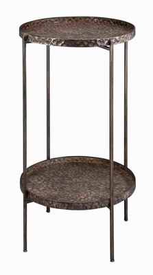 Elegant Metallic 2 Tier Tray Table with Antiqued Design Brand Woodland