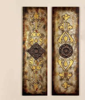 Elegant Metallic Wall Plaque with Artistic Design - Set of 2 Brand Woodland