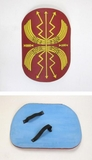 Elegant Mini Wooden Roman Shield in Red and Yellow by IOTC