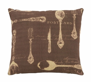Elegant Paris Dining Themed Pillow With Brown And Tan Fabric Brand Woodland