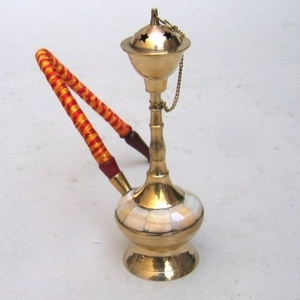 Elegant Persian Hookah in Brass Finish with Mother of Pearls Inlay by IOTC
