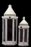 Elegant Pointed Roof Wooden Lantern Set of Two in White