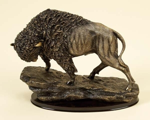Elegant Poly Resin Buffalo Statue with Intricate Design Brand Woodland