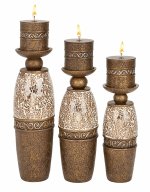 Elegant Poly Resin Candle Holder with Candle - Set of 3 Brand Woodland