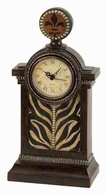 Elegant Poly Resin Clock in Brown Finish with Antiqued Design Brand Woodland