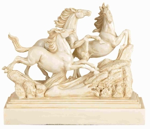 Elegant Poly Resin Three Horse Statue with Artistic Design Brand Woodland