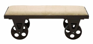 Elegant Portable Dressing Bench With Rolling Wheels Brand Woodland