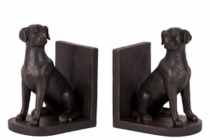 Elegant Resin Guard Dog Bookend in Black